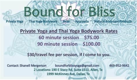 Thai Yoga Rates Card
