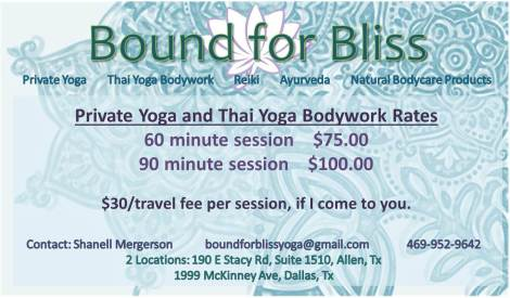 Thai Yoga Rates Card